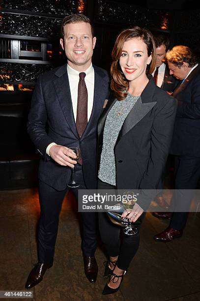 Dermot O'Leary and Dee Koppang attend the GQ London Collections Men AW15 closing dinner at Hakkasan Hanway Place on January 12 2015 in London England