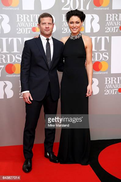 Dermot O'Leary and Emma Willis attend The BRIT Awards 2017 at The O2 Arena on February 22 2017 in London England