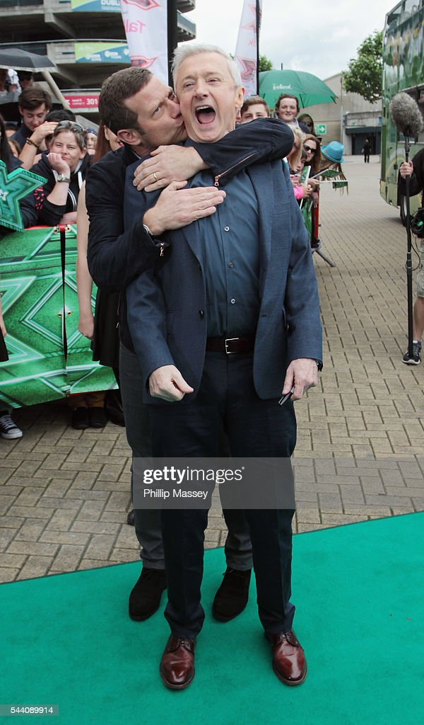 <a gi-track='captionPersonalityLinkClicked' href=/galleries/search?phrase=Dermot+O%27Leary&family=editorial&specificpeople=226772 ng-click='$event.stopPropagation()'>Dermot O'Leary</a> and <a gi-track='captionPersonalityLinkClicked' href=/galleries/search?phrase=Louis+Walsh&family=editorial&specificpeople=240131 ng-click='$event.stopPropagation()'>Louis Walsh</a> arrive at the Dublin X Factor auditions at Croke Park on July 1, 2016 in Dublin, Ireland.