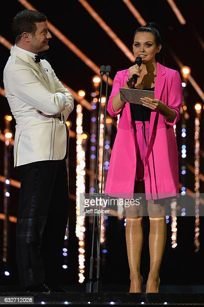 Dermot O'Leary and Scarlett Moffatt host on stage during the National Television Awards at The O2 Arena on January 25 2017 in London England