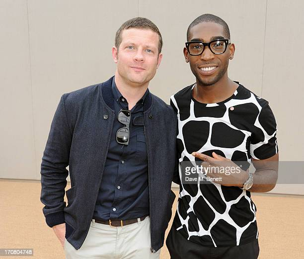 Dermot O'Leary and Tinie Tempah attend an after show reception at Burberry Menswear Spring/Summer 2014 at Kensington Gardens on June 18 2013 in...
