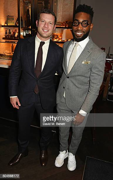 Dermot O'Leary and Tinie Tempah attend the London Collections Men AW16 closing dinner hosted by GQ editor Dylan Jones and LCM Ambassadors at Sartoria...