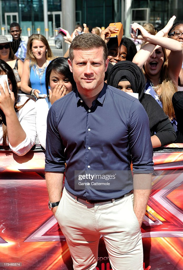 <a gi-track='captionPersonalityLinkClicked' href=/galleries/search?phrase=Dermot+O%27Leary&family=editorial&specificpeople=226772 ng-click='$event.stopPropagation()'>Dermot O'Leary</a> arrives for the London auditions of The X Factor at Wembley Arena on July 15, 2013 in London, England.