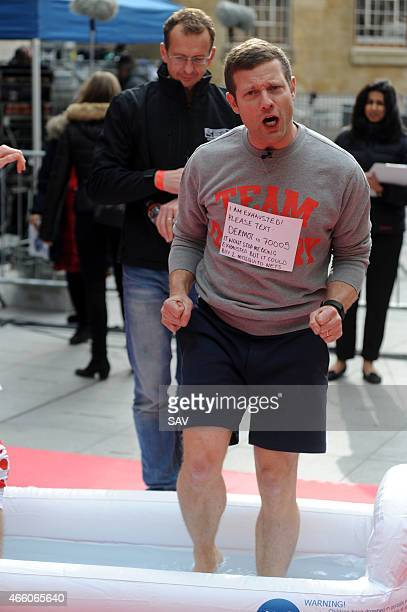 Dermot O'Leary atempts a 24 hour dance marathon at The BBC in aid of Comic Relief on March 13 2015 in London England