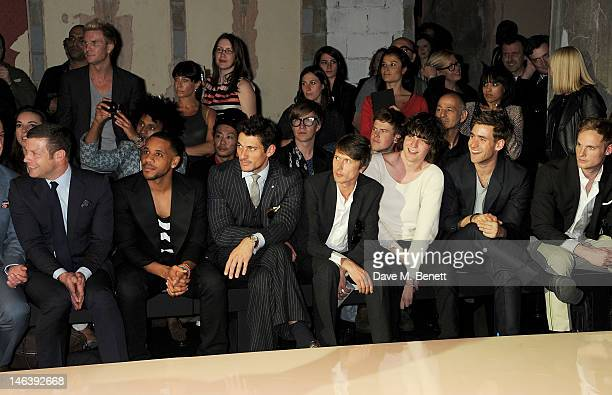 Dermot O'Leary David Gandy Brett Anderson George Craig Oliver JacksonCohen and Jack Fox attend the Spencer Hart Spring/Summer 2013 catwalk show...