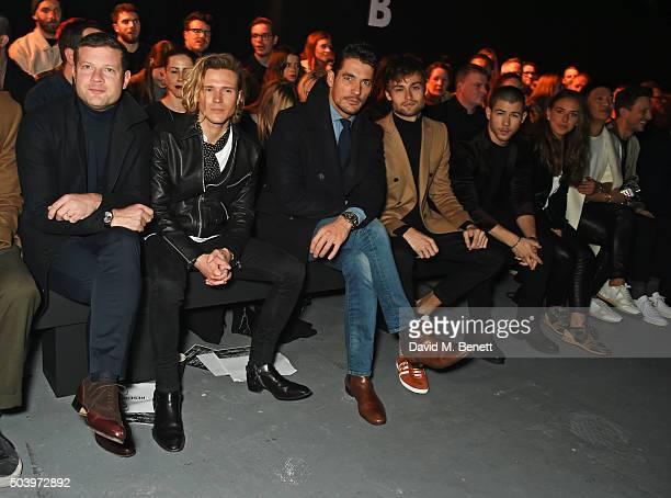 Dermot O'Leary Dougie Poynter David Gandy Douglas Booth Nick Jonas Chloe Green and Bryanboy attend the TOPMAN Design Front Row during London...
