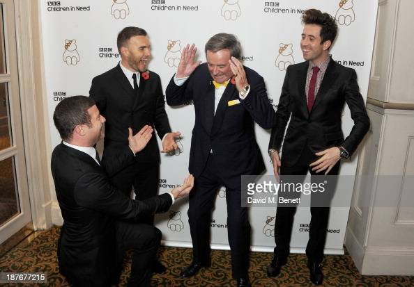 Dermot O'Leary Gary Barlow Sir Terry Wogan and Nick Grimshaw attend the BBC Children in Need Gala hosted by Gary Barlow at The Grosvenor House Hotel...