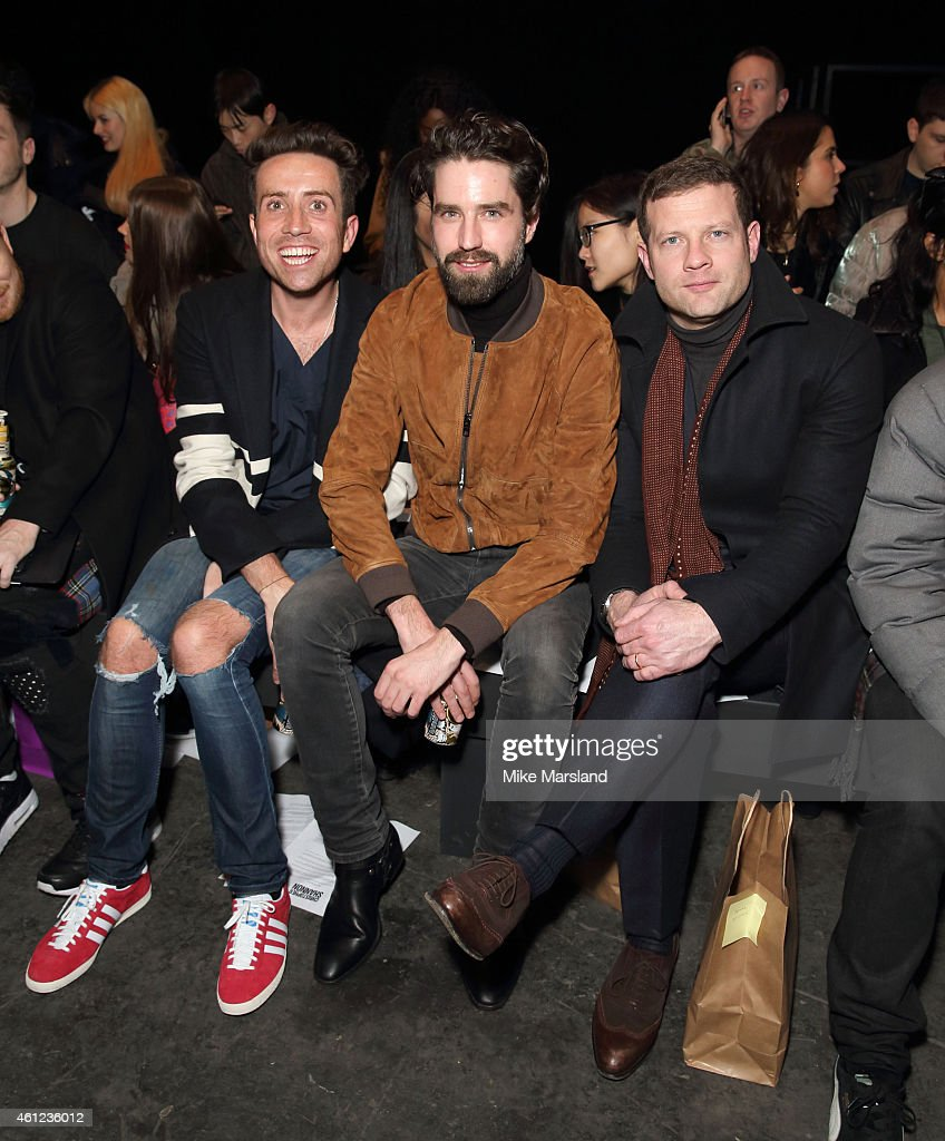 Dermot O'Leary Nick Grimshaw and Jack Guinness attend the TOPMAN show at the London Collections Men AW15 at on January 9 2015 in London England