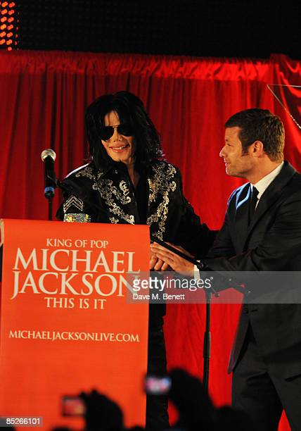 Dermot O'Leary with Michael Jackson who announces plans for Summer residency at the O2 Arena at a press conference held at the O2 Arena on March 5...