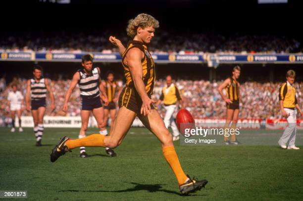 Dermott Brereton of the Hawks kicks for goal during the 1989 AFL Grand Final played between the Hawthorn Hawks and the Geelong Cats held at the...