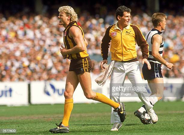 Dermott Brereton of the Hawks leaves the field injured during the 1989 AFL Grand Final played between the Hawthorn Hawks and the Geelong Cats held at...