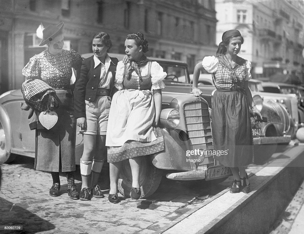 Dernier cri at the Salzburg Festival the lady in leathertrousers This fashion trend is said to be created by Marelne Dietrich Photograph Austria 1937...