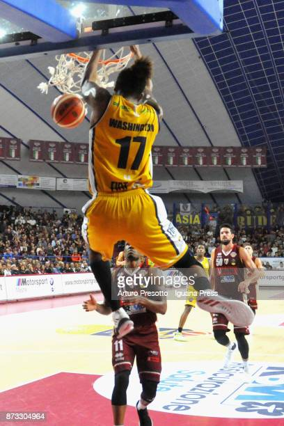 Deron Washington of Fiat competes with Michael Jenkins and Mitchell Watt of Umana during the LBA LegaBasket of Serie A match between Reyer Umana...