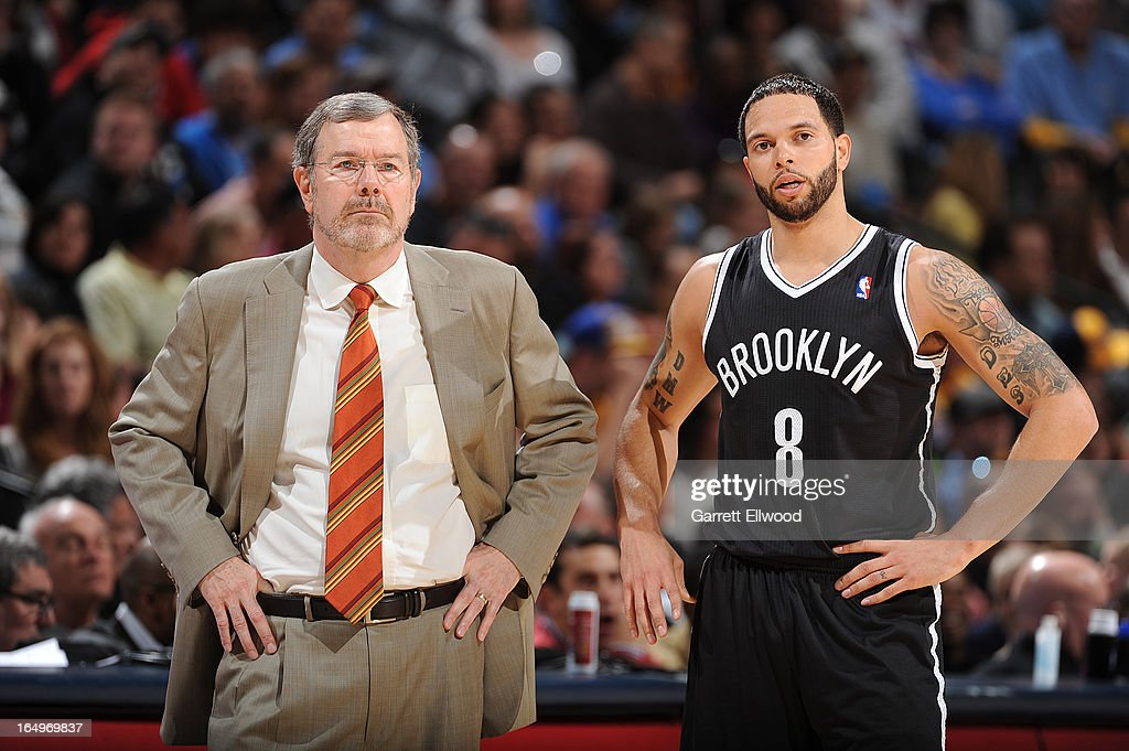 Deron Williams #8 of the Brooklyn Nets and Head Coach P.J. Carlesimo of the Brooklyn Nets look on during the game between the Brooklyn Nets and the Denver Nuggets on March 29, 2013 at the Pepsi Center in Denver, Colorado.