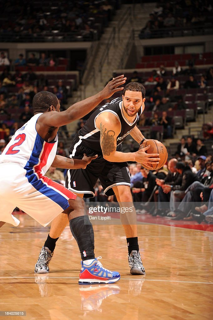 <a gi-track='captionPersonalityLinkClicked' href=/galleries/search?phrase=Deron+Williams&family=editorial&specificpeople=203215 ng-click='$event.stopPropagation()'>Deron Williams</a> #8 of the Brooklyn Nets controls the ball against <a gi-track='captionPersonalityLinkClicked' href=/galleries/search?phrase=Will+Bynum&family=editorial&specificpeople=212891 ng-click='$event.stopPropagation()'>Will Bynum</a> #12 of the Detroit Pistons on March 18, 2013 at The Palace of Auburn Hills in Auburn Hills, Michigan.