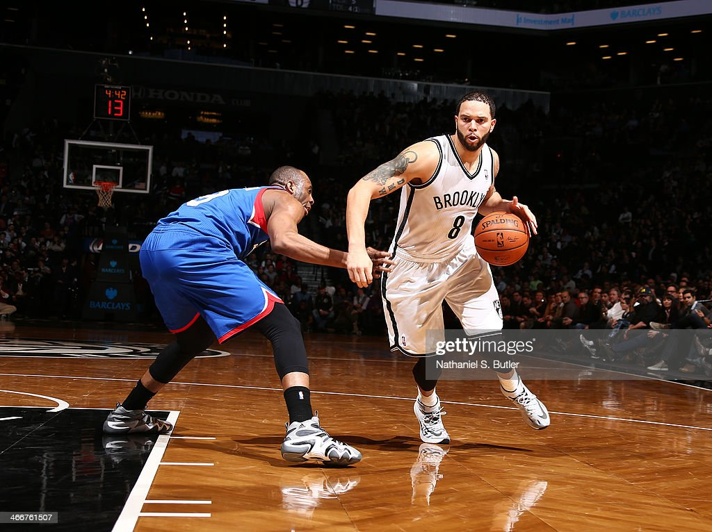 <a gi-track='captionPersonalityLinkClicked' href=/galleries/search?phrase=Deron+Williams&family=editorial&specificpeople=203215 ng-click='$event.stopPropagation()'>Deron Williams</a> #8 of the Brooklyn Nets drives past James Anderson #9 of the Philadelphia 76ers during a game at Barclays Center in Brooklyn.