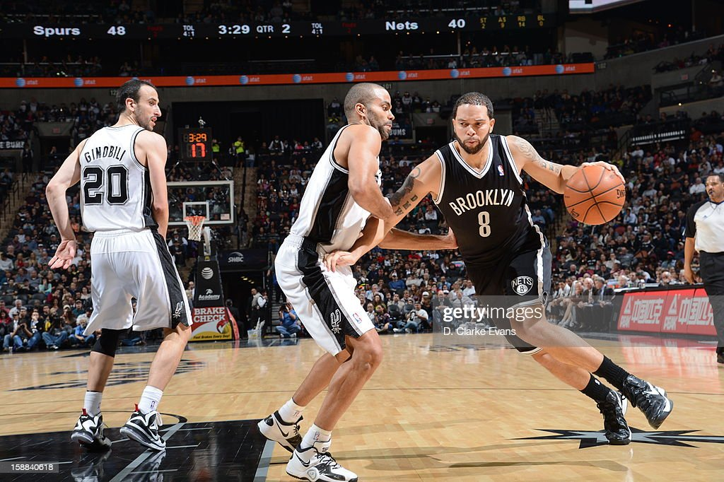 <a gi-track='captionPersonalityLinkClicked' href=/galleries/search?phrase=Deron+Williams&family=editorial&specificpeople=203215 ng-click='$event.stopPropagation()'>Deron Williams</a> #8 of the Brooklyn Nets looks to drive to the basket against the San Antonio Spurs on December 31, 2012 at the AT&T Center in San Antonio, Texas.