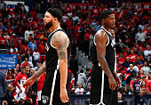 Deron Williams of the Brooklyn Nets reacts after his third foul against the Atlanta Hawks during Game One of the Eastern Conference Quarterfinals of...