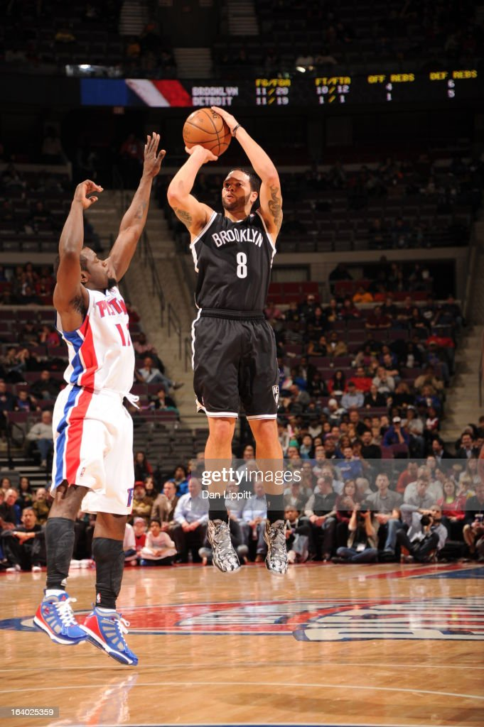 <a gi-track='captionPersonalityLinkClicked' href=/galleries/search?phrase=Deron+Williams&family=editorial&specificpeople=203215 ng-click='$event.stopPropagation()'>Deron Williams</a> #8 of the Brooklyn Nets shoots against <a gi-track='captionPersonalityLinkClicked' href=/galleries/search?phrase=Will+Bynum&family=editorial&specificpeople=212891 ng-click='$event.stopPropagation()'>Will Bynum</a> #12 of the Detroit Pistons on March 18, 2013 at The Palace of Auburn Hills in Auburn Hills, Michigan.