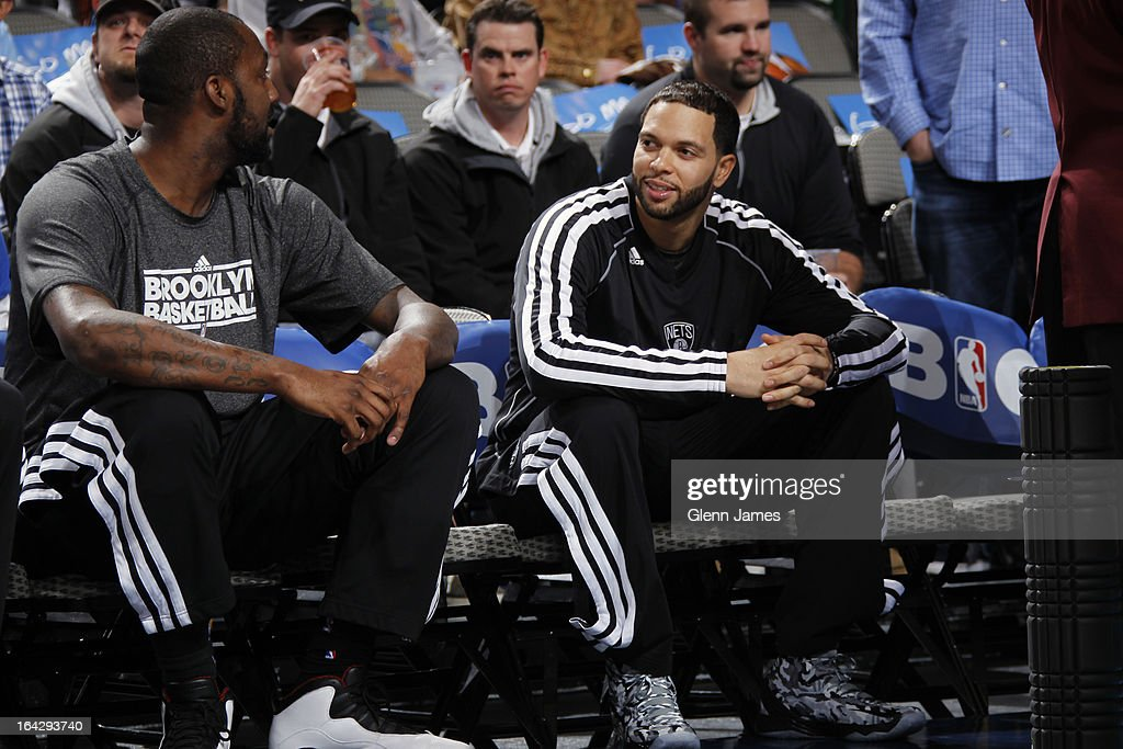 <a gi-track='captionPersonalityLinkClicked' href=/galleries/search?phrase=Deron+Williams&family=editorial&specificpeople=203215 ng-click='$event.stopPropagation()'>Deron Williams</a> #8 of the Brooklyn Nets sits on the bench before the game against the Dallas Mavericks on March 20, 2013 at the American Airlines Center in Dallas, Texas.