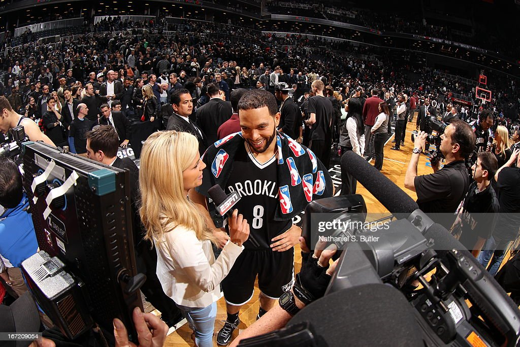 <a gi-track='captionPersonalityLinkClicked' href=/galleries/search?phrase=Deron+Williams&family=editorial&specificpeople=203215 ng-click='$event.stopPropagation()'>Deron Williams</a> #8 of the Brooklyn Nets talks with the media after the game against the Chicago Bulls in Game One of the Eastern Conference Quarterfinals during the 2013 NBA Playoffs on April 20 at the Barclays Center in the Brooklyn borough of New York City.