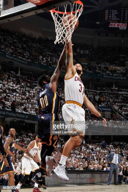 Deron Williams of the Cleveland Cavaliers goes up for a lay up during a game against the Indiana Pacers in Round One of the Eastern Conference...