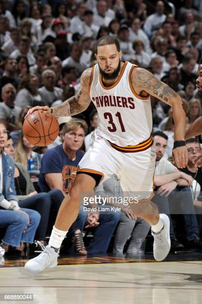 Deron Williams of the Cleveland Cavaliers handles the ball during a game against the Indiana Pacers in Round One of the Eastern Conference Playoffs...