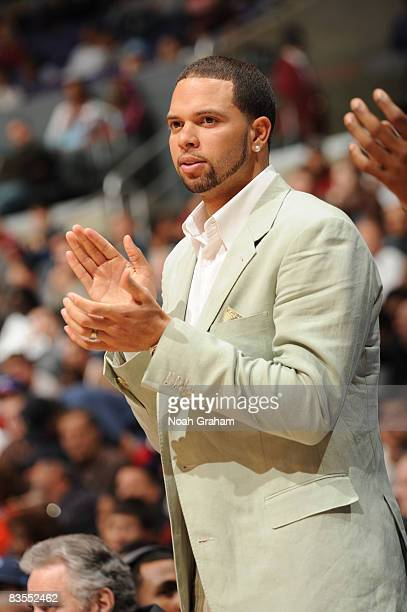 Deron Williams of the Utah Jazz applauds his team from the bench against the Los Angeles Clippers at Staples Center on November 3 2008 in Los Angeles...