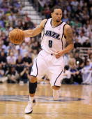 Deron Williams of the Utah Jazz dribbles the ball against the Denver Nuggets during Game Four of the Western Conference Quarterfinals of the 2010 NBA...