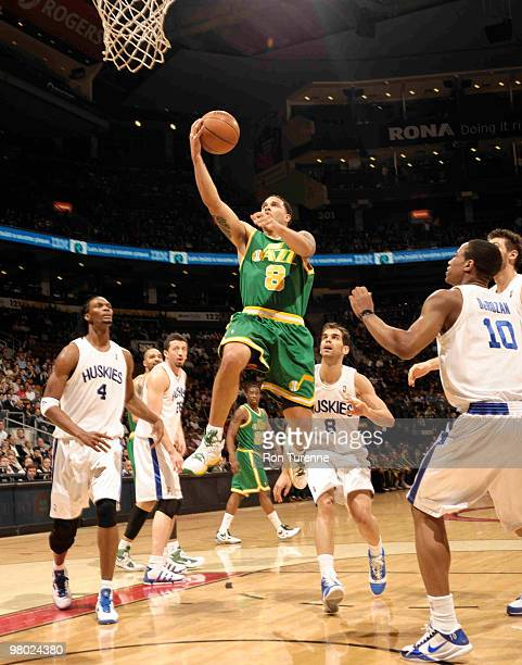 Deron Williams of the Utah Jazz gets a clear look at the net after crossing over Jose Calderon of the Toronto Raptors during a game on March 24 2010...