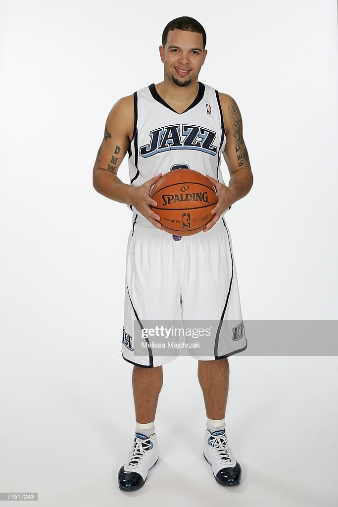 Deron Williams #8 of the Utah Jazz poses for a portrait during NBA Media Day at the Open Court on October 22, 2007 in Salt Lake City, Utah.