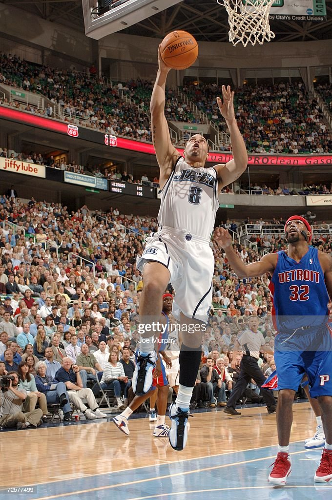 Deron Williams #8 of the Utah Jazz shoots against the Detroit Pistons during the game on November 6, 2006 at the Delta Center in Salt Lake City, Utah. The Jazz won 103-101.