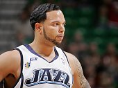 Deron Williams of the Utah Jazz takes a break from the action during the game against the Minnesota Timberwolves on April 3 2009 at EnergySolutions...