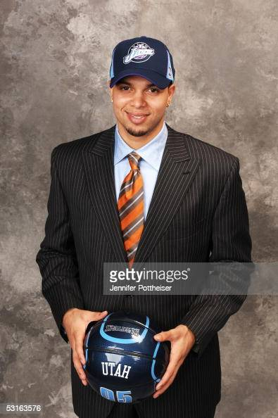 Deron Williams selected by the Utah Jazz poses for a portrait during the 2005 NBA Draft on June 28 2005 at the Theater at Madison Square Garden in...