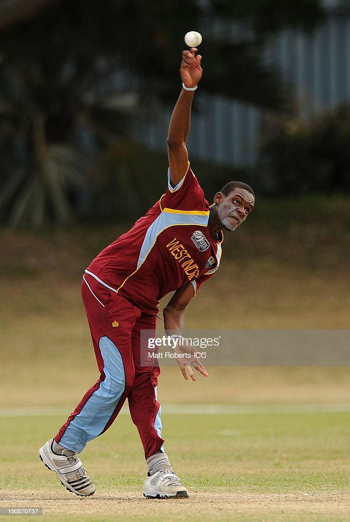 Derone Davis of the West Indies bowls during the ICC U19 Cricket World Cup 2012 Semi Final match between Pakistan and the West Indies at Endeavour Park on August 22, 2012 in Townsville, Australia.