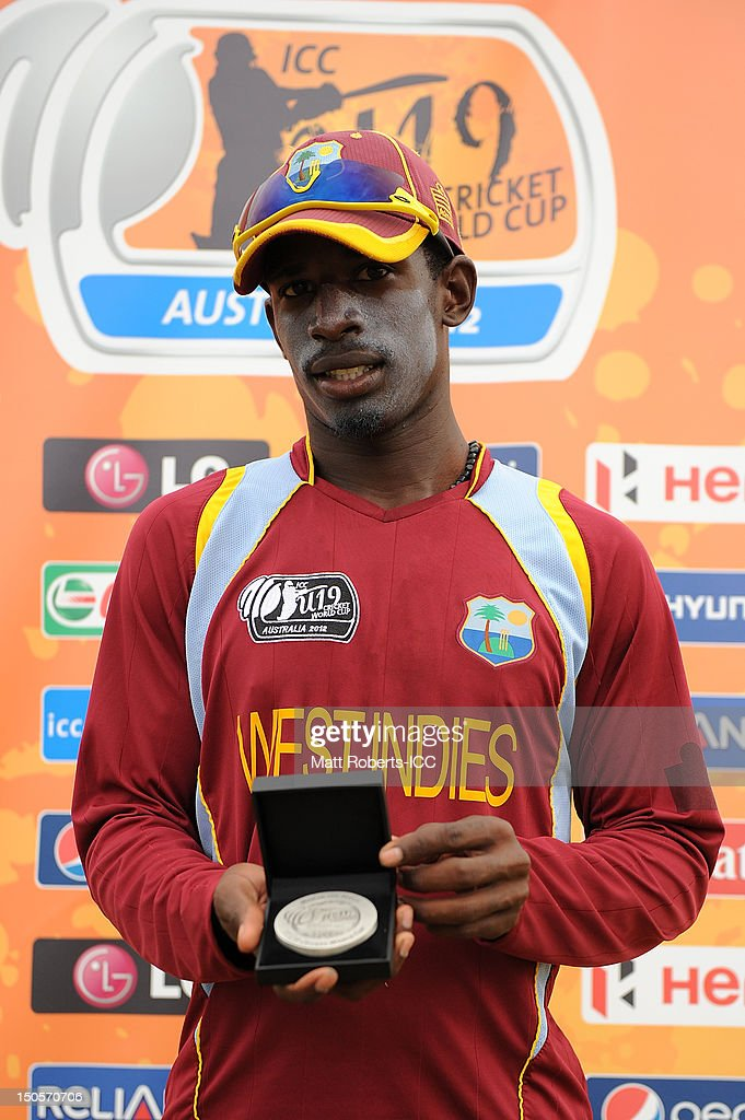 Derone Davis of the West Indies with the Man of the Match award at the conclusion the ICC U19 Cricket World Cup 2012 Semi Final match between Pakistan and the West Indies at Endeavour Park on August 22, 2012 in Townsville, Australia.