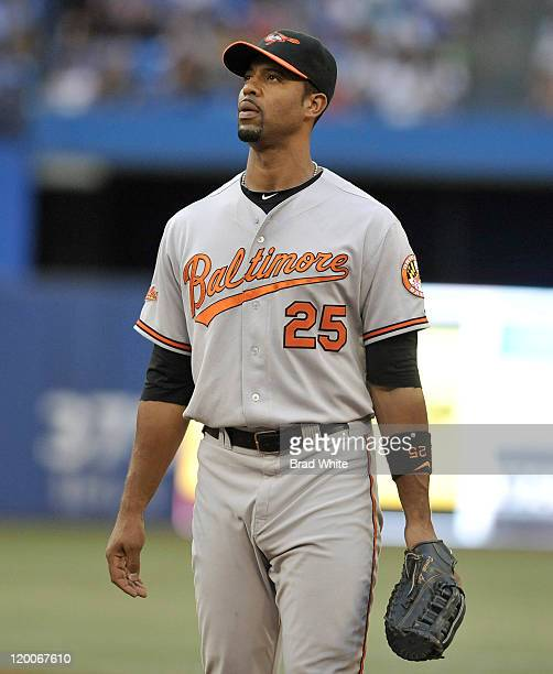 Derrek Lee of the Baltimore Orioles looks on during MLB game action against the Toronto Blue Jays July 27 2011 at Rogers Centre in Toronto Ontario...