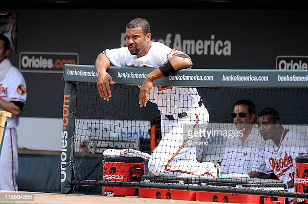 Derrek Lee of the Baltimore Orioles watches the game against the Toronto Blue Jays at Oriole Park at Camden Yards on June 5 2011 in Baltimore Maryland