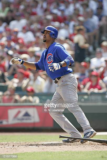 Derrek Lee of the Chicago Cubs watches his 32nd home run of the season leave the park during a game against the St Louis Cardinals at Busch Stadium...