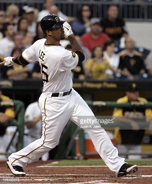 Derrek Lee of the Pittsburgh Pirates bats against the St Louis Cardinals during the game on September 12 2011 at PNC Park in Pittsburgh Pennsylvania...