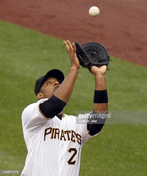 Derrek Lee of the Pittsburgh Pirates plays the field against the Houston Astros during the game on September 5 2011 at PNC Park in Pittsburgh...