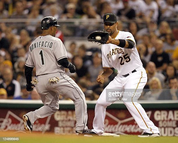 Derrek Lee of the Pittsburgh Pirates plays the field against the Florida Marlins during the game on September 10 2011 at PNC Park in Pittsburgh...
