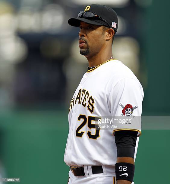 Derrek Lee of the Pittsburgh Pirates plays the field against the Florida Marlins during the game on September 11 2011 at PNC Park in Pittsburgh...