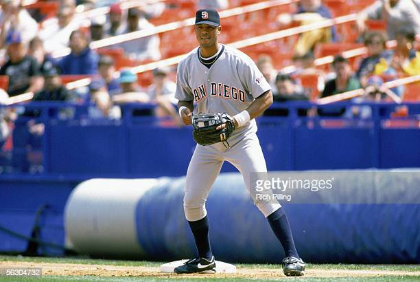 Derrek Lee of the San Diego Padres stands ready at first base during a game against the New York Mets on May 1 1997 at Shea Stadium in Flushing New...