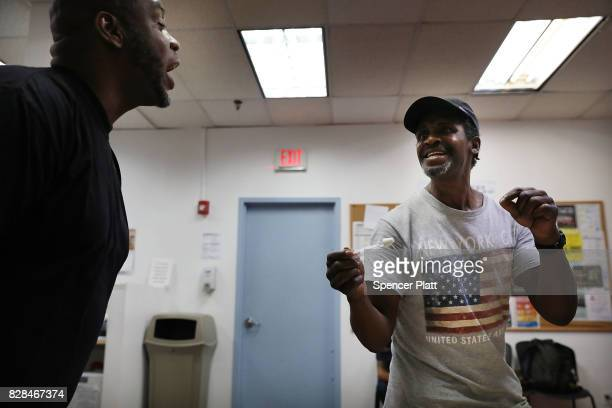 Derrick attends a class with teacher Kieth Allen on opioid overdose prevention held by nonprofit Positive Health Project on August 9 2017 in New York...