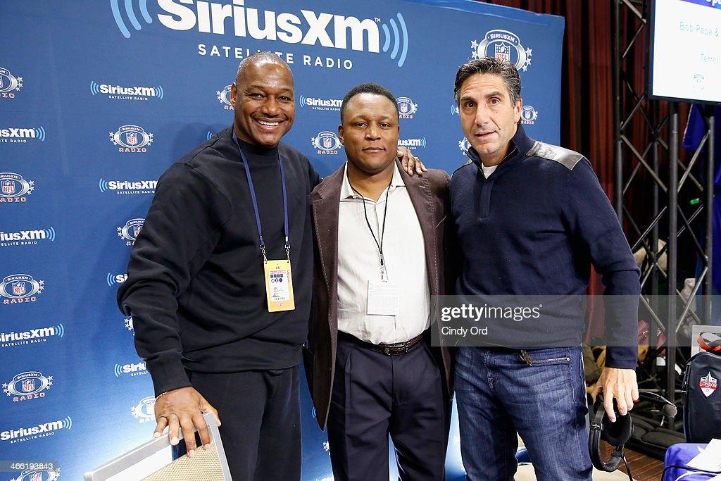 Derrick Brooks, Barry Sanders and Bob Papa attend SiriusXM At Super Bowl XLVIII Radio Row on January 31, 2014 in New York City.