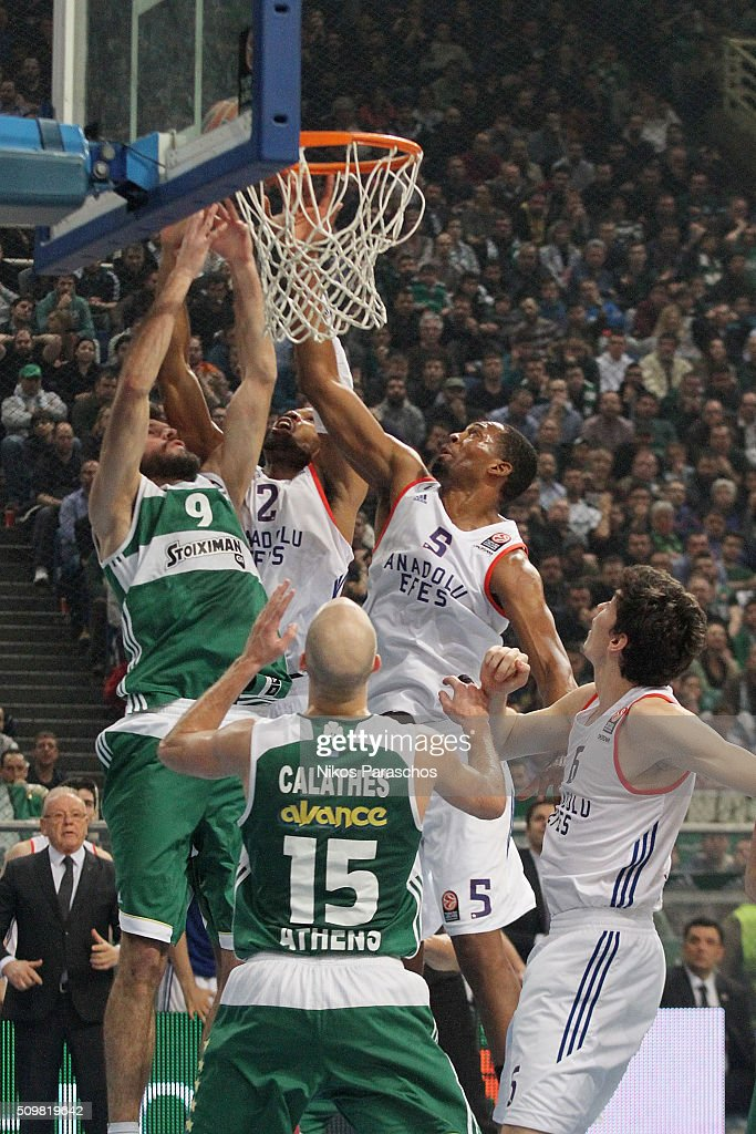 Derrick Brown, #5 of Anadolu Efes Istanbul competes with Antonis Fotsis, #9 of Panathinaikos Athens during the Turkish Airlines Euroleague Basketball Top 16 Round 7 game between Panathinaikos Athens v Anadolu Efes Istanbul at Olympic Sports Center Athens on February 12, 2016 in Athens, Greece.