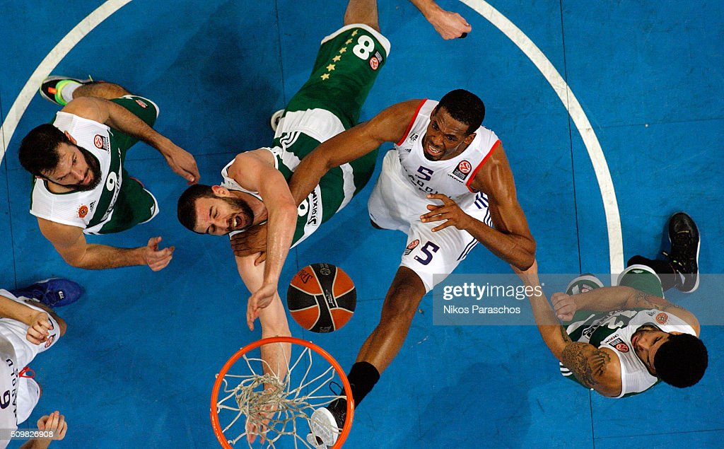 Derrick Brown #5 of Anadolu Efes Istanbul competes with Vladimir Jankovic #8 of Panathinaikos Athens during the Turkish Airlines Euroleague...