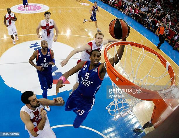 Derrick Brown #5 of Anadolu Efes Istanbul in action during the Turkish Airlines Euroleague Regular Season date 2 game between Anadolu Efes Istanbul v...