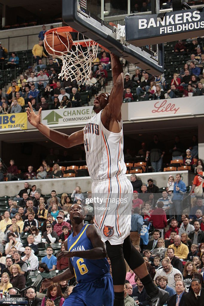 Derrick Brown #4 of the Charlotte Bobcats dunks over Lance Stephenson #6 of the Indiana Pacers on February 19, 2012 at Bankers Life Fieldhouse in Indianapolis, Indiana.